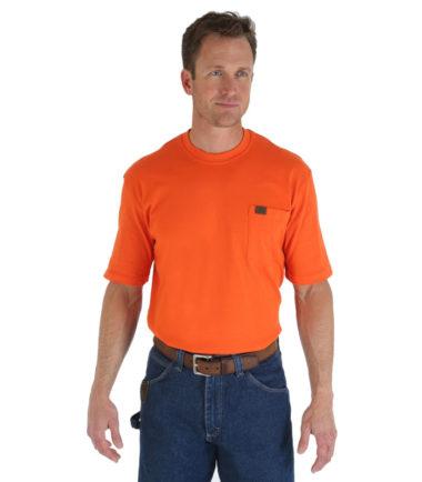 Wrangler Riggs Workwear Short Sleeve Pocket T Shirt Safety Orange