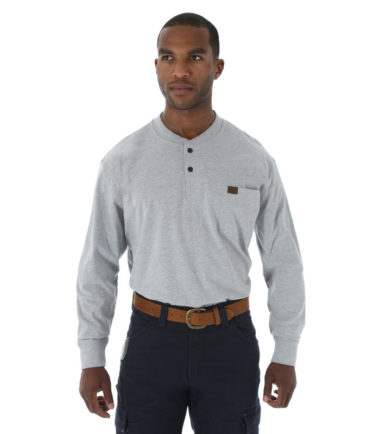Wrangler Riggs Workwear Long Sleeve Henley Ash Heather