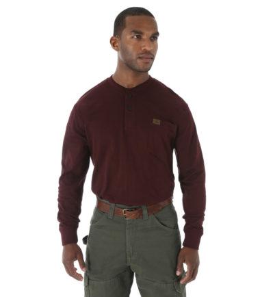 Wrangler Riggs Workwear Long Sleeve Henley Burgundy