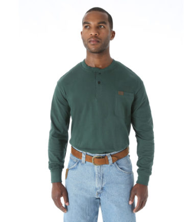 Wrangler Riggs Workwear Long Sleeve Henley Forest Green