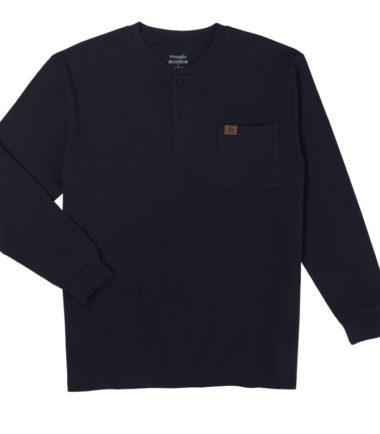 Wrangler Riggs Workwear Long Sleeve Henley Navy