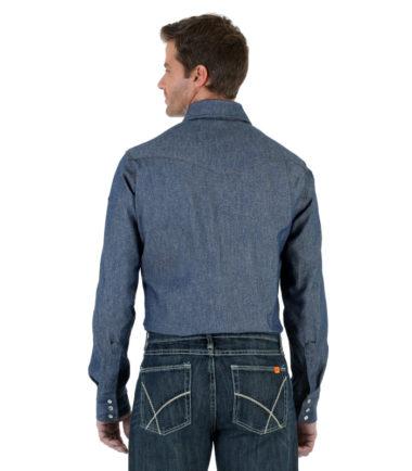 Wrangler FR Long Sleeve Twill Work Shirt Denim