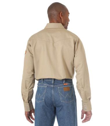 Wrangler FR Long Sleeve Twill Work Shirt Khaki
