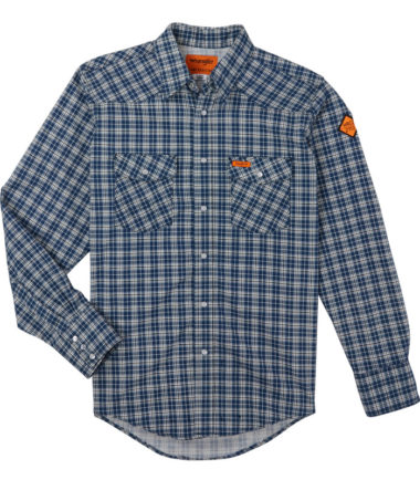 Wrangler FR Long Sleeve Work Shirt Navy Plaid