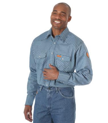 Wrangler FR Long Sleeve Work Shirt Blue Plaid