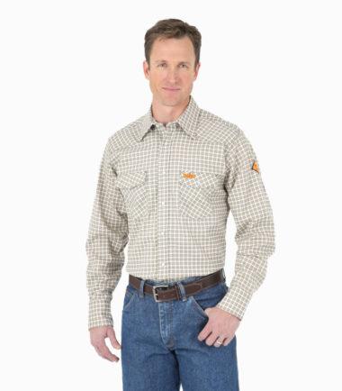 Wrangler FR Long Sleeve Lightweight Work Shirt White Khaki Plaid