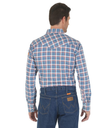Wrangler FR Long Sleeve Work Shirt Red Blue Plaid