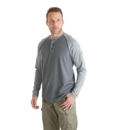 Wrangler FR Knit Baseball Henley Grey