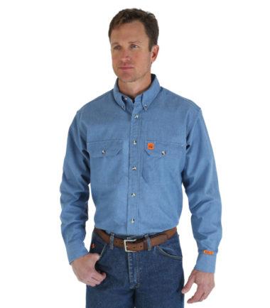 Wrangler Riggs FR Long Sleeve Work Shirt Chambray