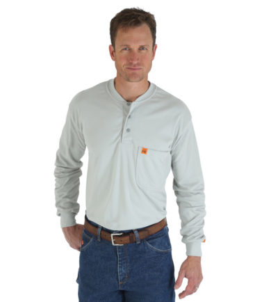 Wrangler FR Long Sleeve Henley Grey