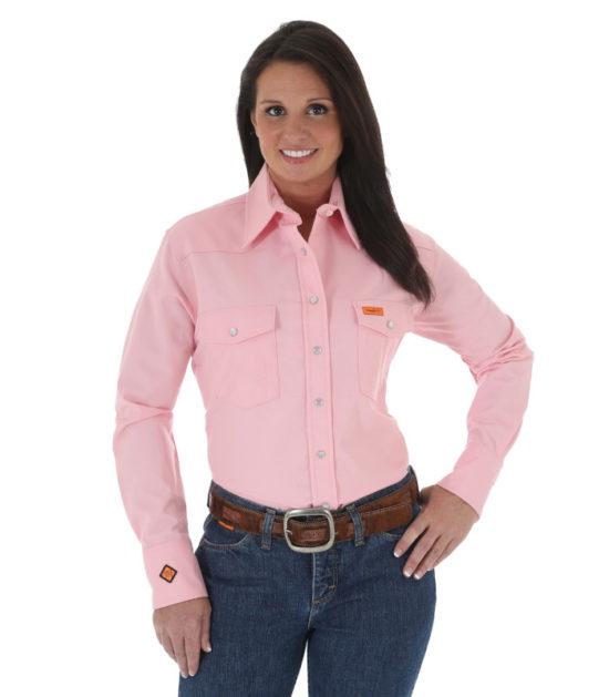 Wrangler Women's FR Long Sleeve Shirt Pink