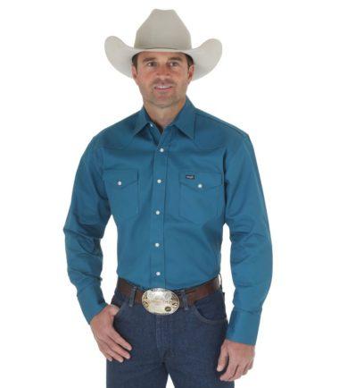 heavy duty dark teal wrangler shirt